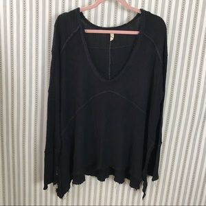 Free People Waffle Knit Boxy Oversized Long Sleeve
